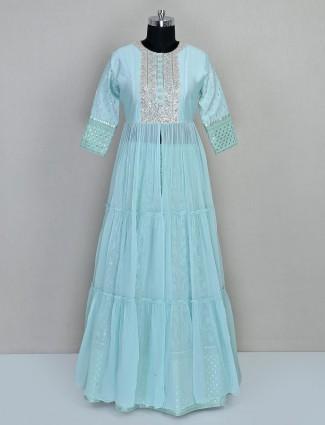 Sky blue wedding lehenga style salwar suit
