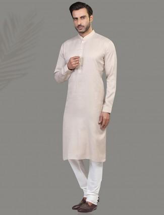 Solid beige designer mens kurta suit