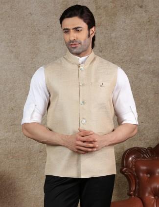 Solid beige raw silk mens waistcoat