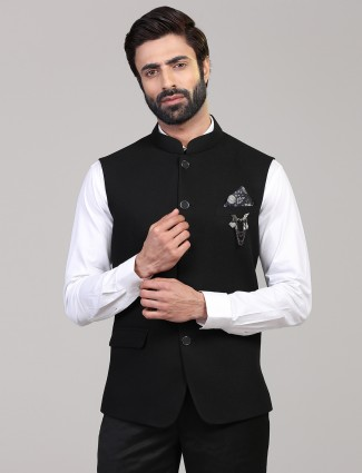 Solid black knitted waistcoat