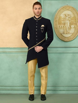 Solid black party wear cut style indo western