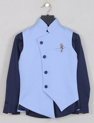 Solid blue colored terry rayon waistcoat set