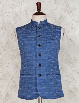 Solid blue raw silk waistcoat