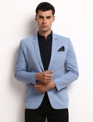 Solid blue terry rayon classic blazer