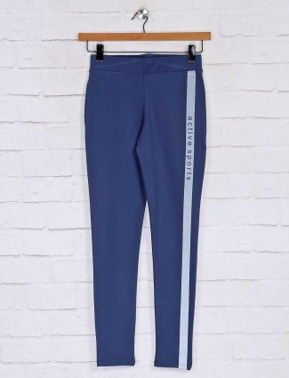 Solid blue track pant for womens