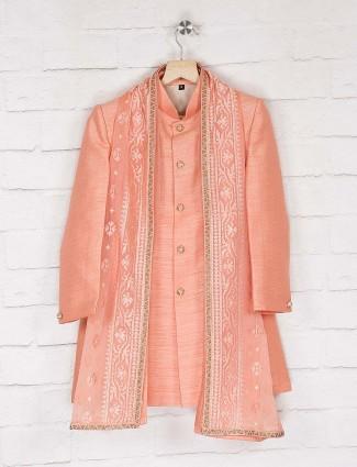 Solid bright peach hue raw silk indo western