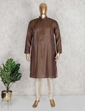 Solid brown cotton festive wear kurta suit