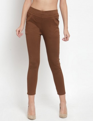 Solid brown solid skinny fit jeggings