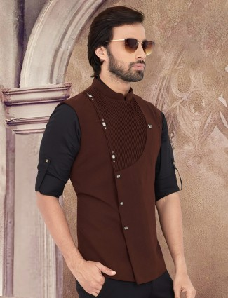 Solid brown stand collar waistcoat