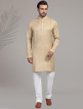 Solid cotton silk kurta suit in beige