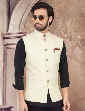 Solid cream cotton silk waistcoat