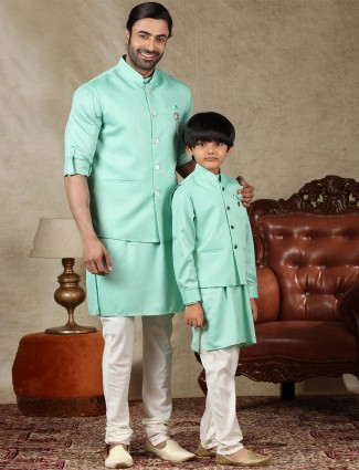 Solid green cotton silk father and son waistcoat set