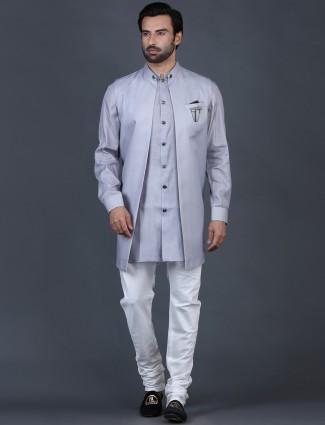Solid grey cotton silk cotton silk waistcoat set