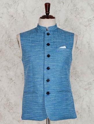 Solid light blue raw silk waistcoat