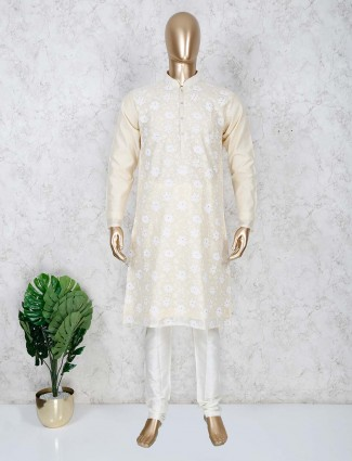 Solid light yellow cotton kurta suit