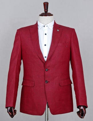 Solid maroon cotton blazer for mens