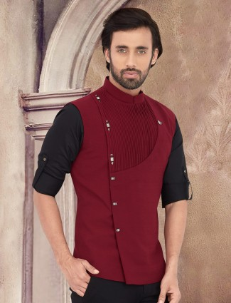 Solid maroon cotton waistcoat