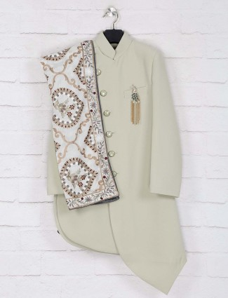 Solid mint green indo western for wedding