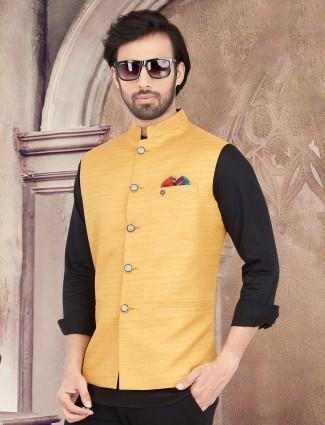 Solid mustard yellow cotton silk waistcoat