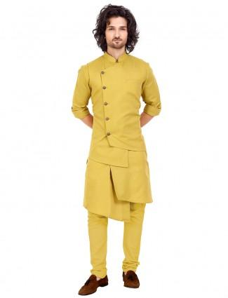 Solid mustard yellow mens waistcoat set