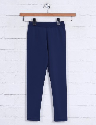 Solid navy casual girls jeggings