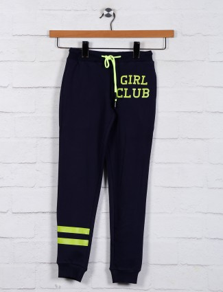 Solid navy casual jeggings for girls