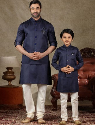 Solid navy cotton silk father and son waistcoat set