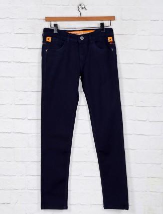 Solid navy slim fit denim jeans