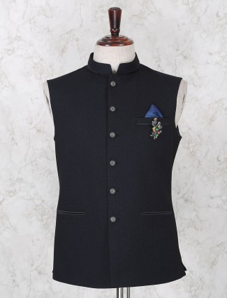 Solid navy terry rayon mens waistcoat