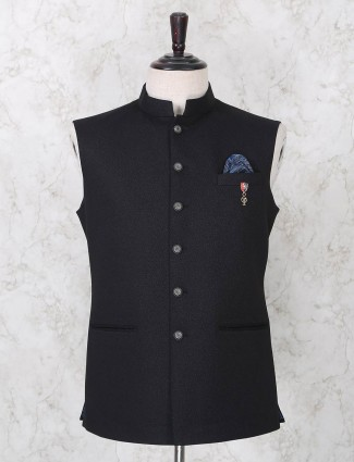 Solid navy terry rayon party waistcoat