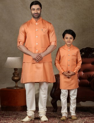 Solid orange cotton silk waistcoat set for father and son