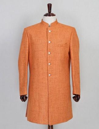Solid orange jute sherwani set