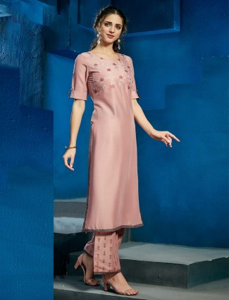 Solid peach casual cotton palazzo suit