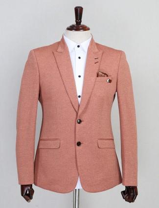 Solid peach jute party wear mens blazer