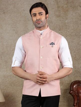 Solid pink raw silk party wear waistcoat