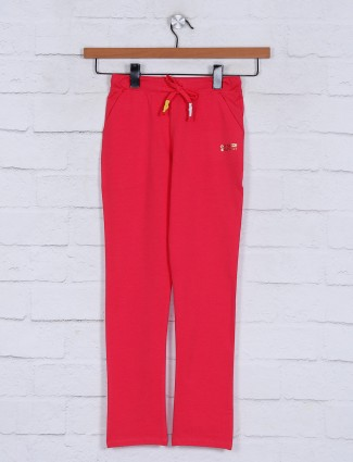 Solid pink skinny fit cotton jeggings