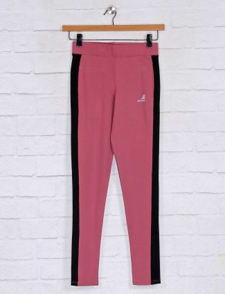 Solid pink skinny fit track pant