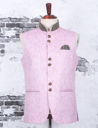 Solid pink waistcoat in terry rayon fabric