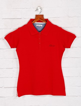 Solid Red polo T-shirt for women