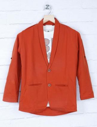 Solid rust orange party blazer
