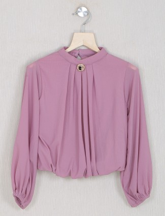 Solid style onion pink tint casual top for girls