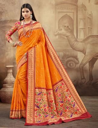 Spectacular orange banarasi paithani silk saree