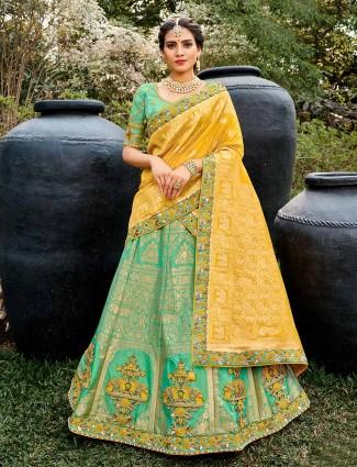 Splendid aqua semi stitched lehenga choli for wedding occasions
