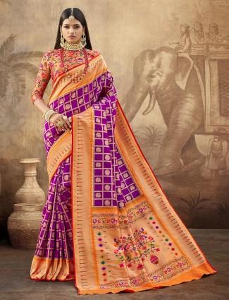 Splendid banarasi paithani silk wedding wear saree in puple