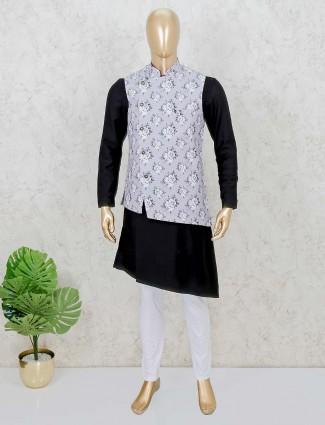 Stand collar grey and black hue waistcoat set