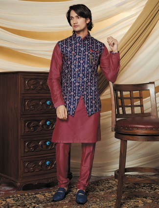 Stand collar navy hue silk waistcoat set