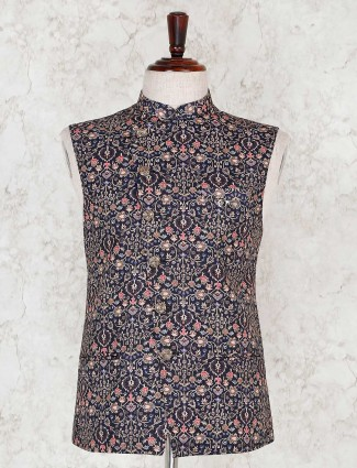 Stand collar navy printed terry rayon waistcoat