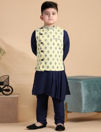 Stand collar yellow printed cotton silk waistcoat set