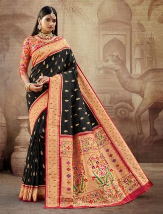 Stately black banarasi paithani silk saree for wedding