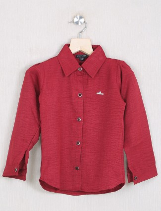 Stilo Moda solid style maroon cotton top for girls